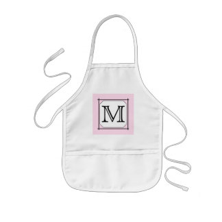 Your Letter. Custom Monogram. Pink Black White Kids Apron