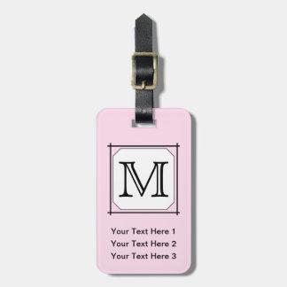 Your Letter. Custom Monogram. Pink Black White. Luggage Tag