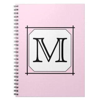 Your Letter. Custom Monogram. Pink Black White. Notebook