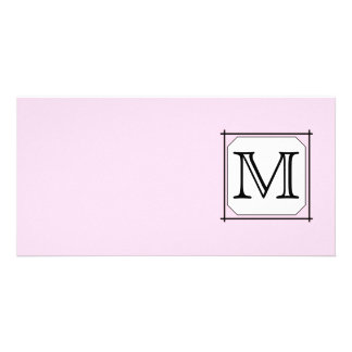 Your Letter. Custom Monogram. Pink Black White Picture Card