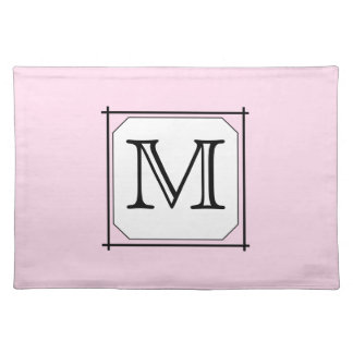 Your Letter. Custom Monogram. Pink Black White. Placemat
