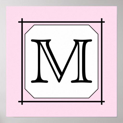 Your Letter. Custom Monogram. Pink Black White Poster