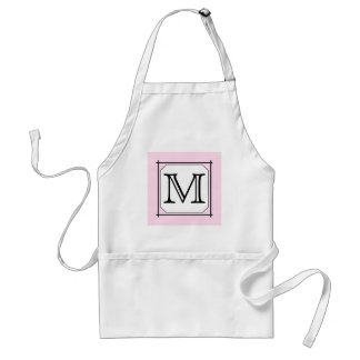 Your Letter. Custom Monogram. Pink Black White Standard Apron