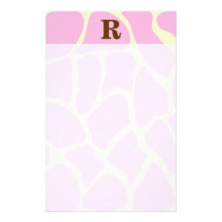 Your Letter Custom Monogram. Pink Giraffe Print. Stationery