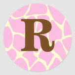 Your Letter Custom Monogram. Pink Giraffe Print. Round Stickers