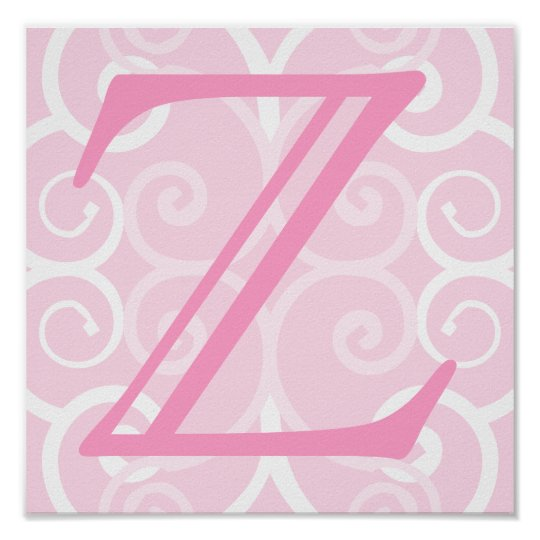 Your Letter. Custom Pink Swirl Monogram. Poster