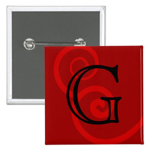 Your Letter. Custom Red Swirl Monogram. 15 Cm Square Badge