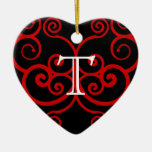 Your Letter. Custom Red Swirl Monogram. Christmas Tree Ornaments