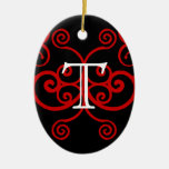 Your Letter. Custom Red Swirl Monogram. Christmas Ornaments