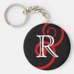 Your Letter. Custom Red Swirl Monogram. Key Chains