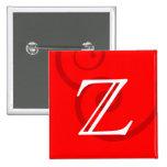 Your Letter. Custom Red Swirl Monogram. Pin