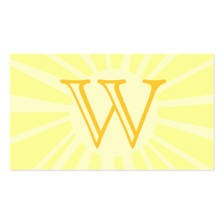 Your Letter. Custom Yellow Sun Ray Monogram. Pack Of Standard Business Cards