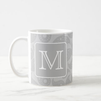 Your Letter. Gray Paisley Pattern with Monogram. Coffee Mug