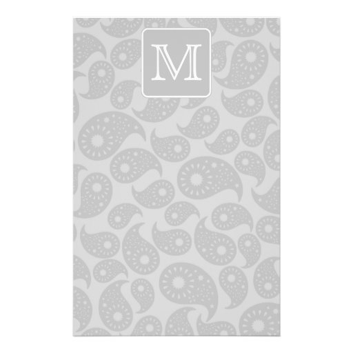 Your Letter. Gray Paisley Pattern with Monogram. Personalized Flyer