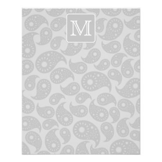 Your Letter. Gray Paisley Pattern with Monogram. Flyer