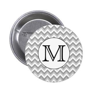 Your Letter. Gray Zigzag Pattern Monogram. 6 Cm Round Badge
