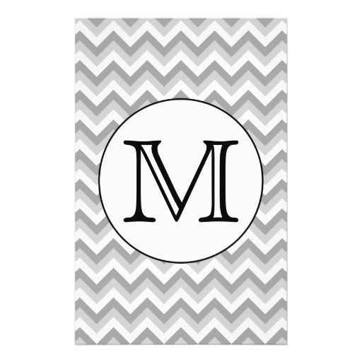 Your Letter. Gray Zigzag Pattern Monogram. Flyer Design