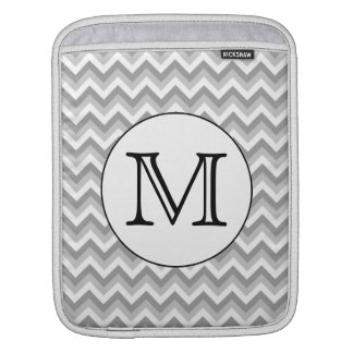 Your Letter. Gray Zigzag Pattern Monogram. iPad Sleeve