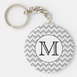 Your Letter. Gray Zigzag Pattern Monogram. Key Ring
