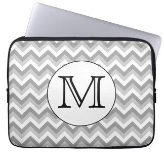 Your Letter. Gray Zigzag Pattern Monogram. Laptop Sleeve