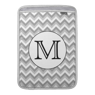 Your Letter. Gray Zigzag Pattern Monogram. MacBook Sleeve