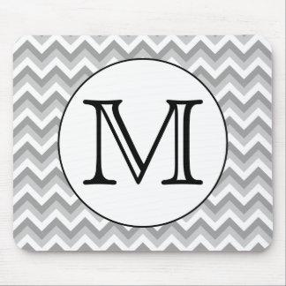 Your Letter. Gray Zigzag Pattern Monogram. Mouse Mat