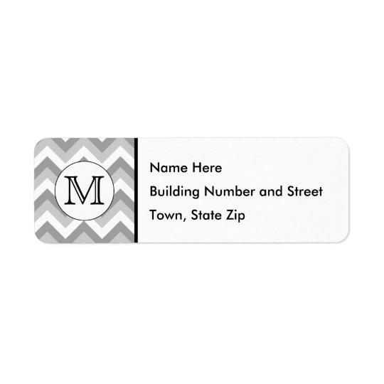 Your Letter. Grey Zigzag Pattern Monogram. Return Address Label