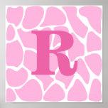 Your Letter Monogram. Custom. Pink Giraffe Pattern