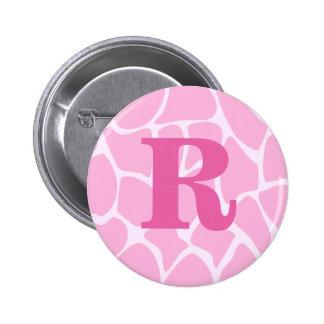 Your Letter Monogram. Custom. Pink Giraffe Pattern 6 Cm Round Badge