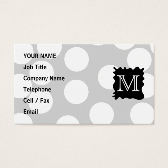 Your Letter, Monogram. Dots with Black Splat. Business Card