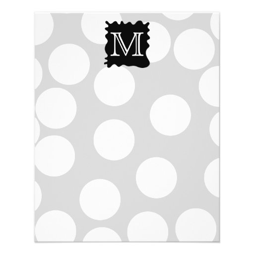 Your Letter, Monogram. Dots with Black Splat. Personalized Flyer