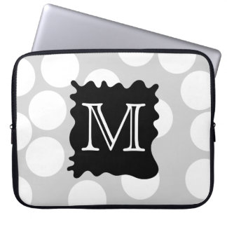 Your Letter, Monogram. Dots with Black Splat. Laptop Sleeve