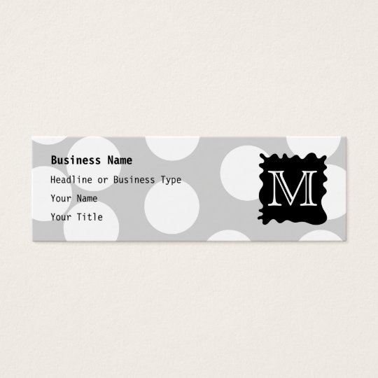 Your Letter, Monogram. Dots with Black Splat. Mini Business Card