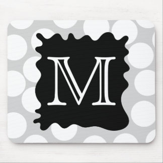 Your Letter, Monogram. Dots with Black Splat. Mouse Mat