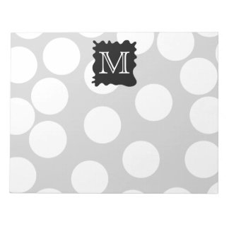 Your Letter, Monogram. Dots with Black Splat. Notepad