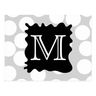 Your Letter Monogram Dots with Black Splat Postcards
