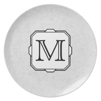 Your Letter. Monogram in Gray, Black and White. Plate