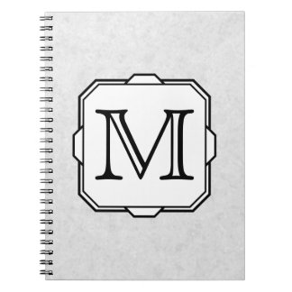 Your Letter. Monogram in Gray, Black and White. Spiral Notebook