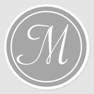 Your Letter, Monogram M, Initial Grey Round Sticker