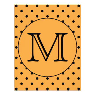 Your Letter Monogram Orange and Black Polka Dot Full Color Flyer