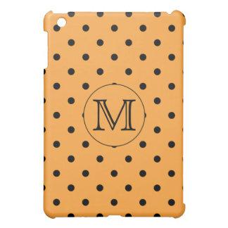 Your Letter Monogram. Orange and Black Polka Dot. iPad Mini Case