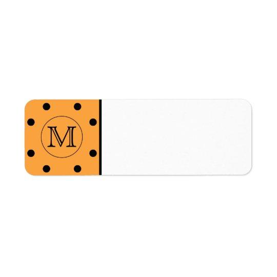 Your Letter Monogram. Orange and Black Polka Dot. Return Address Label