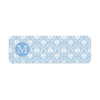 Your Letter, Monogram. Pale Blue Damask Pattern.