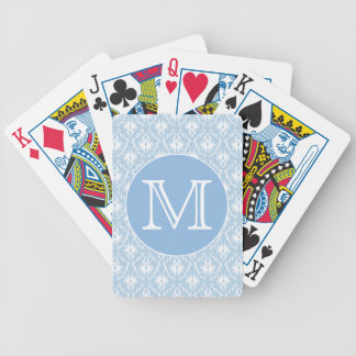Your Letter, Monogram. Pale Blue Damask Pattern. Bicycle Playing Cards
