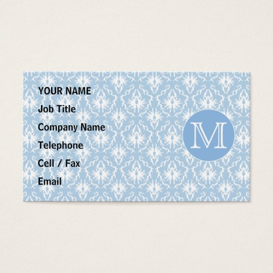 Your Letter, Monogram. Pale Blue Damask Pattern. Business Card