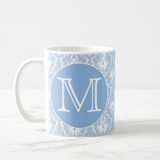Your Letter, Monogram. Pale Blue Damask Pattern. Coffee Mug