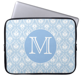 Your Letter, Monogram. Pale Blue Damask Pattern. Laptop Sleeve