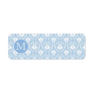 Your Letter, Monogram. Pale Blue Damask Pattern. Return Address Label
