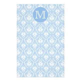 Your Letter, Monogram. Pale Blue Damask Pattern. Stationery