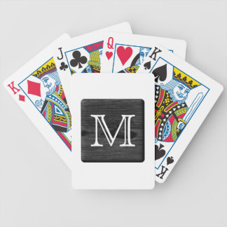 Your Letter Monogram. Picture of Black Wood. Bicycle Playing Cards